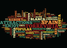 Enjoy The Sights Intorrevieja Spain Word Cloud Concept. Enjoy The Sights Intorrevieja Spain Text Background Word Cloud Concept royalty free illustration