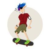 Enjoy Skateboarding. Guy Enjoy Skateboarding and listening music Royalty Free Stock Images