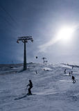 Enjoy skiing. Enjoying ski in winter time Royalty Free Stock Image
