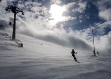 Enjoy skiing. Enjoying ski in winter time Royalty Free Stock Images