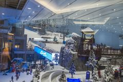 Enjoy snow in the desert at Ski Dubai. Snow, snowman, skiing, snowboarding, rides - Enjoy snow in the desert at Ski Dubai in United Arab Emirates . View from the royalty free stock image