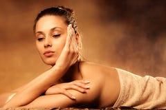 Enjoy in spa. Woman enjoy in spa salon Stock Photo