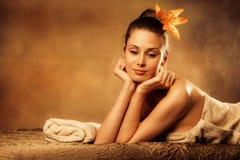 Enjoy in spa. Woman enjoy in spa salon Royalty Free Stock Image
