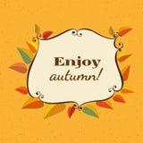 Enjoy spirit of fall. Template Design poster Enjoy Autumn. Autumnal round frame. Fall leaf wreath. Colorful leaves background border cartoon style. Design idea Royalty Free Stock Photos