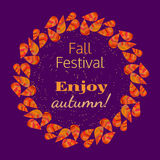Enjoy spirit of fall. Template Design poster Enjoy Autumn. Autumnal round frame. Fall leaf wreath. Colorful leaves background border. Design idea for decorative Royalty Free Stock Photography