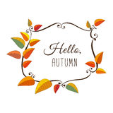 Enjoy spirit of fall. Template Design poster Hello Autumn. Autumnal round frame. Fall leaf wreath. Colorful leaves background border. Design idea for decorative Stock Photography
