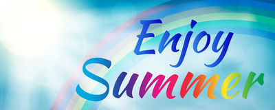 Enjoy summer banner style with rainbow. Abstract enjoy summer banner style with rainbow. Enjoy summer banner. Summer season. Summer time. Happy summer. Summer Stock Images