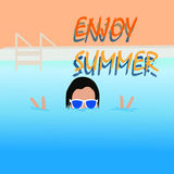 Enjoy summer Beach Vector Design. In a pool Royalty Free Stock Image