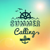 Enjoy Summer calling Sunrise hawaii  vintage poster Royalty Free Stock Images