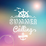 Enjoy Summer calling  vintage poster. Enjoy Summer calling  text typography vintage poster  from background Royalty Free Stock Image