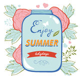 Enjoy summer card with flowers and glass jar Stock Images