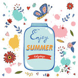 Enjoy summer card with flowers and glass jar Stock Image