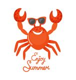 Enjoy Summer, Crab in Glasses, Oceanic Animal. Crab in glasses, enjoy summer, oceanic underwater animal vector. Beach creature with claws and shell, accessory stock illustration
