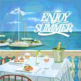 Enjoy summer hand drawn quote card  illustration. Of a romantic lunch for two on the sea beach, served restaurant table Royalty Free Stock Image
