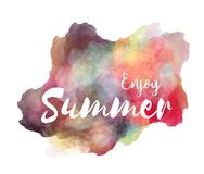 Enjoy Summer hand lettering phrase on watercolor imitation color splash over white background. Inspirational quote for t-shirts design etc royalty free illustration