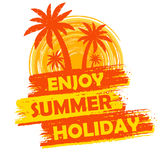 Enjoy summer holiday with palms and sun sign, yellow and orange Royalty Free Stock Images
