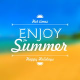 Enjoy summer holiday poster blur background royalty free illustration