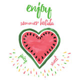 Enjoy summer holiday vacation poster with decorative abstract  watermelon. Enjoy summer holiday vacation typographic poster with decorative abstract  watermelon Royalty Free Stock Images