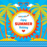 Enjoy summer holiday - vector concept banner in flat style Stock Images