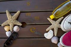 Enjoy summer holidays. Concept: enjoy summer holidays with sea tools stock image
