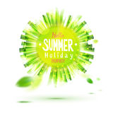 Enjoy summer holidays green circle label Stock Image