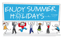 Enjoy summer holidays greeting card. Stick figures holding board - illustration Royalty Free Stock Images