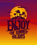 Enjoy the summer holidays poster. Enjoy the summer holidays vector poster.Vacation card with dolphins and tropical island Royalty Free Stock Photo