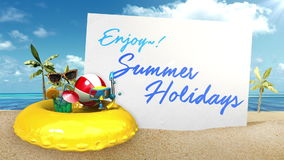 'Enjoy! summer holidays' Prepare to travel for summer vacation front whiteboard. stock video