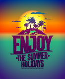 Enjoy the summer holidays quote design. With tropical island and dolphins Stock Photo