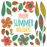 Enjoy summer holidays quote with doodle flowers. Hand drawn image Royalty Free Stock Images