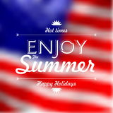 Enjoy Summer Holidays text over defocused United States flag bac Stock Photos