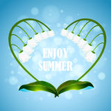 Enjoy the summer. Illustration with heart shape. Wreath lilies. EPS 10 Stock Images
