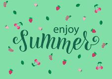 ENJOY SUMMER Lettering design with berry. ENJOY SUMMER-Lettering design with berry. Season vocation, weekend, holiday badge. Summer time wallpaper. Summer vector stock illustration