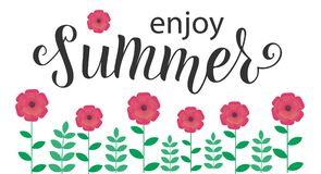 ENJOY SUMMER Lettering design with flowers. ENJOY SUMMER-Lettering design with flowers. Season vocation, weekend, holiday badge. Summer time wallpaper. Summer royalty free illustration