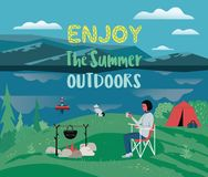 Enjoy summer outdoors typography poster vector illustration