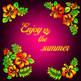 Enjoy the summer pink illustration - hibiscus flower and typography Stock Images