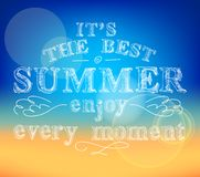 Enjoy summer poster. Best summer enjoy every moment poster with abstract sea background vector illustration Royalty Free Stock Image