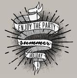 Enjoy summer print on banner isolated. Print vector art background and illustration Stock Photo