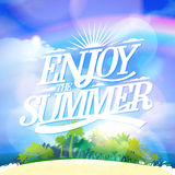 Enjoy the summer quote card with tropical island Stock Image