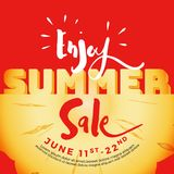 Enjoy summer sale typography on carved pineapple Stock Images