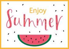 ENJOY SUMMER POSITIVE, lettering postcard. ENJOY SUMMER-season vocation, weekend, holiday badge. Summer time wallpaper. Summer vector lettering text. Happy vector illustration