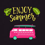Enjoy summer text with hand drawn surf car. Bright pink illustration at dark background. Royalty Free Stock Images