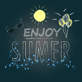 Enjoy summer text hand writing and sketch design on chalkboard background Stock Images