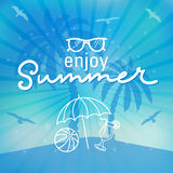 Enjoy summer time background hand letter. Royalty Free Stock Image