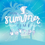 Enjoy summer time background hand letter. Stock Photo