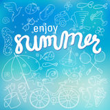 Enjoy summer time background hand letter. Stock Photos