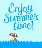 Enjoy summer time lettering poster. Background with cartoon isla Royalty Free Stock Photography