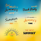 Enjoy The Summer Time logo Template. Vector Typographic Design Label. Holidays lettering.  Tropical party paradise, sea, sunshine Stock Photos