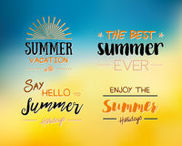Enjoy The Summer Time logo Template. Vector Typographic Design Label. Holidays lettering.  Tropical party paradise, sea, sunshine Stock Photo