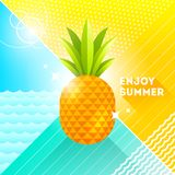 Enjoy summer - illustration. Pineapple on a abstract background. 80`s retro style illustration.Tropical vacation flat design Royalty Free Stock Photo